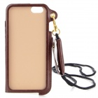 "Protective PU Case w/ Strap / Card Slot / Stand for IPHONE 6 4.7"" - Brown"
