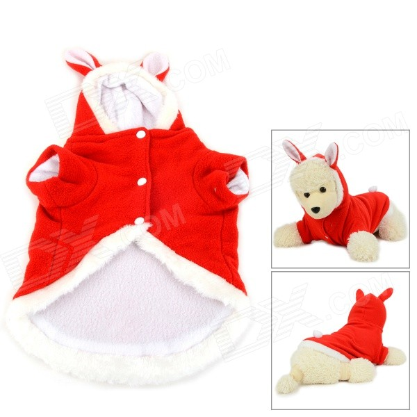 JUQI Rabbit Style Winter Wear Cotton Coat Clothes for Pet Dog / Cat - Red + White (Size L)