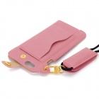 "Protective PU Case w/ Strap / Card Slot / Stand for IPHONE 6 / 6S 4.7"" - Pink"