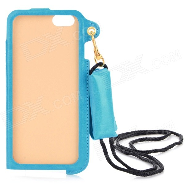Protective PU Case w/ Strap / Card Slot / Stand for IPHONE 6 4.7 - Blue angibabe matte protective pu case w stand card slot for iphone 6 4 7 black