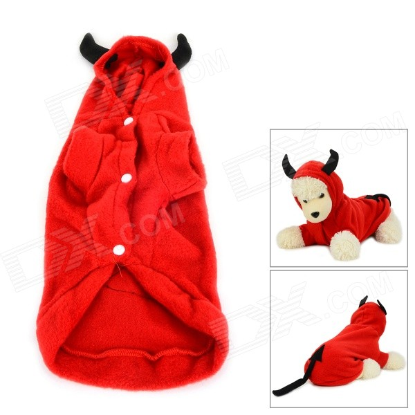 JUQI Devil Style Autumn / Winter Wear Cotton Coat for Pet Cat / Dog - Red + Black (Size XL)