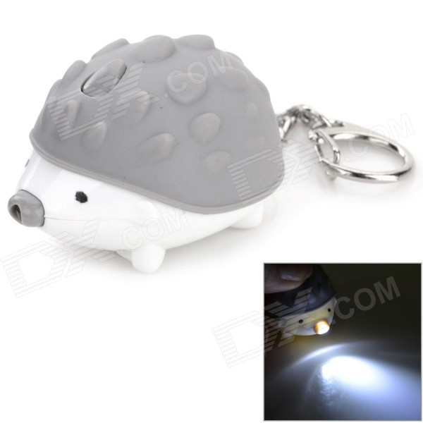 Cute Hedgehog Style Keychain w/ LED Light + Sound Effect - Grey + White cute hippo style plastic key chain w led white light green 3 x ag10