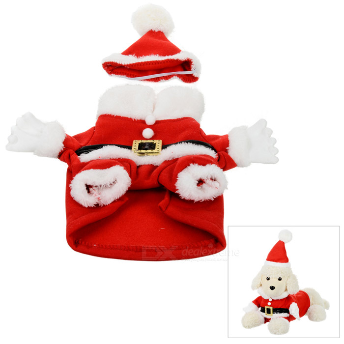 Cute Christmas Cotton Coat + Cap Suit for Pet Dog / Cat - Red + White (Size S) love letter pattern cotton coat hoody for pet dog cat deep pink