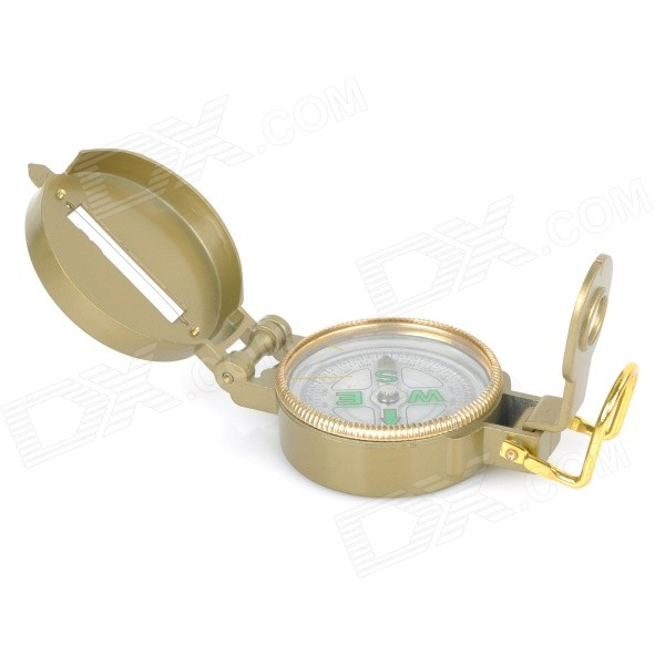AOTU AT7590 Outdoor Camping Mountaineering Portable Lensatic Compass - Golden - DXCompasses<br>Color Golden Brand AOTU Model AT7590 Quantity 1 Piece Material Metal + glass Analog or Digital Analog Battery included or not No Ruler Yes Waterproof Yes Best Use MountaineeringTravel Packing List 1 x Compass<br>