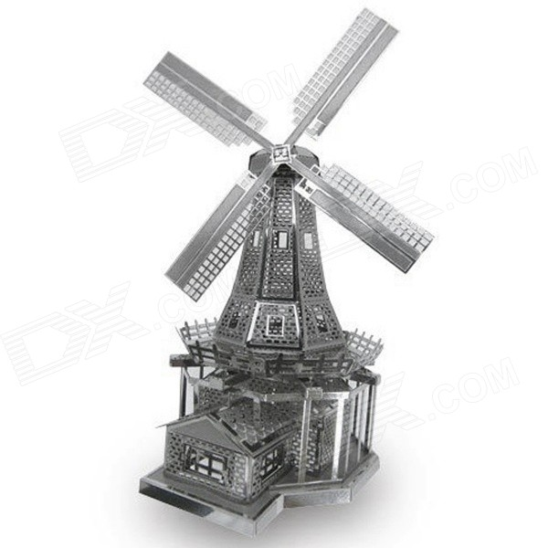 Miniature 3D Holland Windmill Metallic Nano Puzzle - Silver