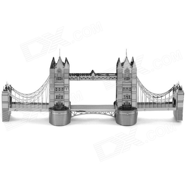Miniature 3D London Tower Bridge Metallic Nano Puzzle - Silver