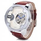 Fashion Men's Analog Mechanical Wrist Watch w/ Leather Band - White + Brown