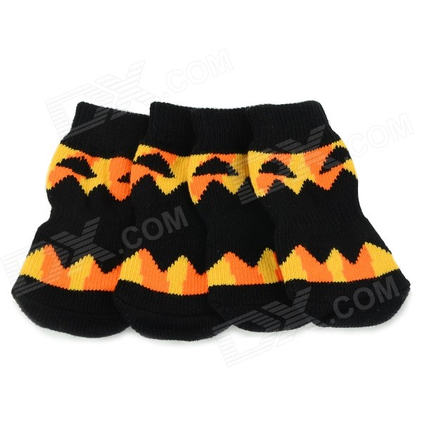 Pumpkin Patterned Halloween Anti-skid Cotton Socks for Pet Cat / Dog - Black + Yellow (XL / 4 PCS)