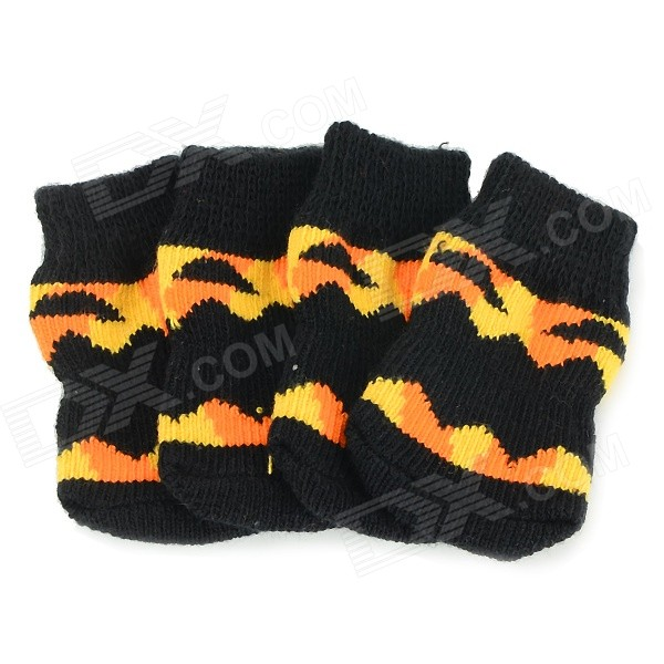 Pumpkin Patterned Halloween Anti-skid Cotton Socks for Pet Cat / Dog - Black + Yellow (L / 4 PCS)