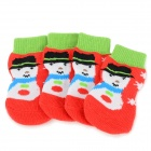 Snowman Patterned Christmas / New Year Socks for Pet Cat / Dog - Red + Green (L / 4 PCS)