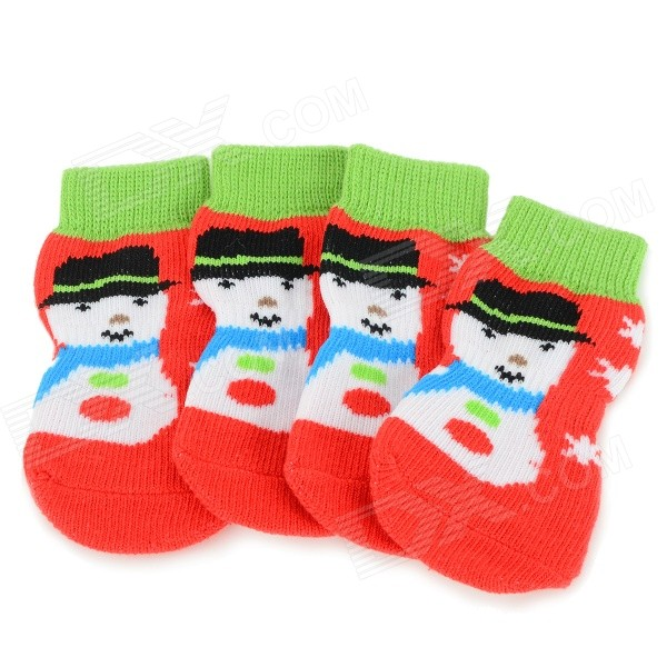 Snowman Patterned Christmas / New Year Socks for Pet Cat / Dog - Red + Green (S / 4 PCS)