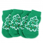 Christmas Tree Patterned Christmas / New Year Socks for Pet Cat / Dog - White + Green (XL / 4 PCS)