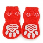 Cute Deer Patterned Christmas / New Year Socks for Pet Cat / Dog - White + Red (Size L / 4 PCS)