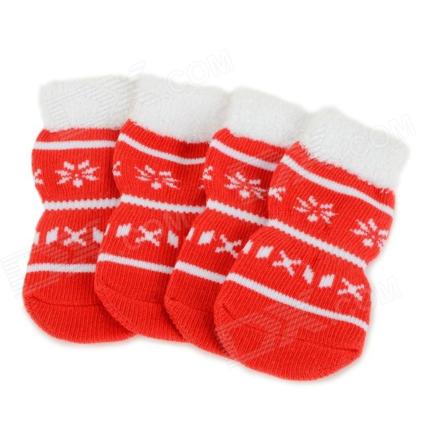 Snowflakes Patterned Christmas / New Year Socks for Pet Cat / Dog - White + Red (XL / 4 PCS)