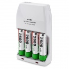 AA/AAA Battery Charger + 4 x AA (2600mAh) + US Plug Power Cord + EU Plug Adapter Set - White