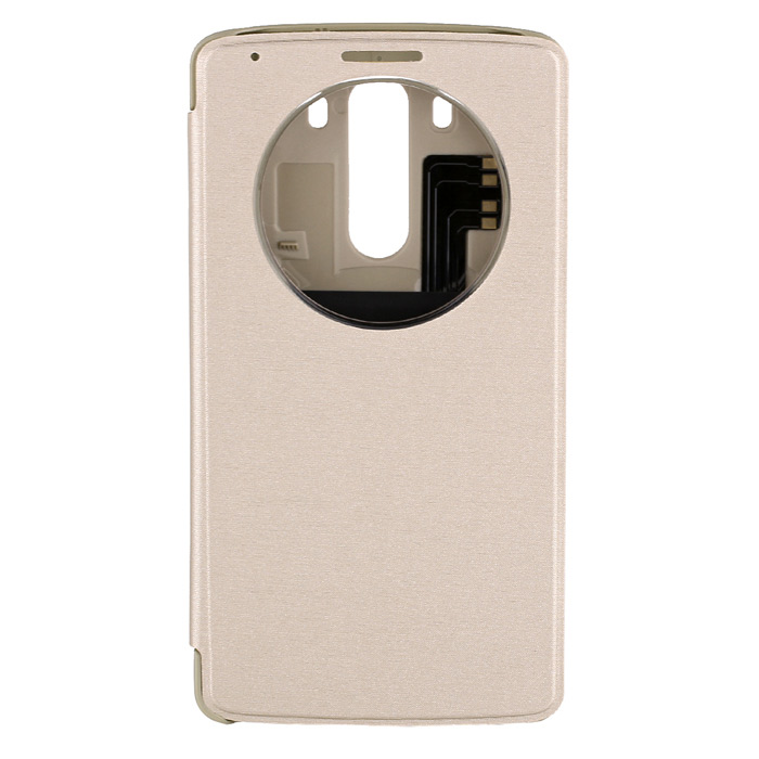 цена Qi Standard Wireless Charger Receiver PU Leather Case w/ Auto-Sleep for LG G3 - Ghampagne Gold