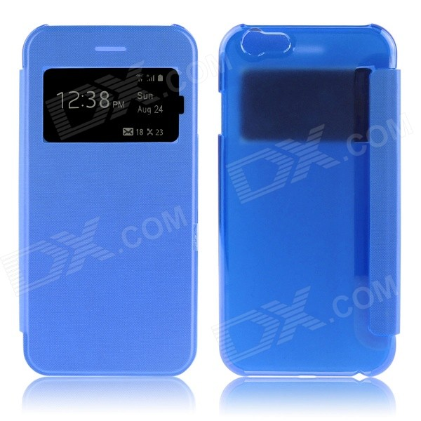 Hat-Prince Protective PU + PC Case w/ Call Display Window for IPHONE 6 PLUS 5.5 - Blue protective pu leather plastic case w display window for iphone 4 4s maroon