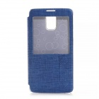 Solid Color PU Leather Case w/ Viewing Window for Samsung Galaxy Note 4 - Blue