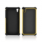 Angibabe 2-in-1 Football Grain Pattern Plastic + Silicon Cover for Sony Z2 - Yellow + Black