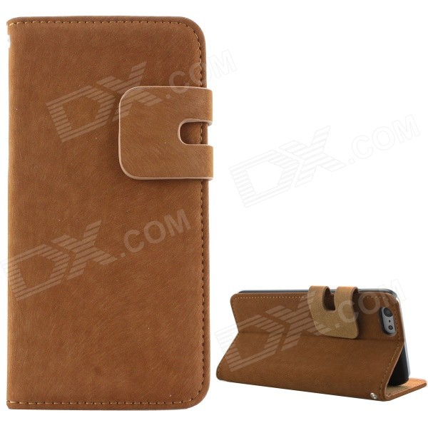 High Quality Business Flip Open PU + PC Case w/ Card Slots for 5.5 IPHONE 6 PLUS - Brown high quality business flip open pu pc case w card slots for 5 5 iphone 6 plus brown