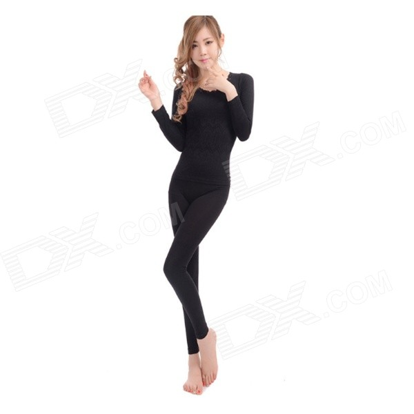 RW-91 Combed Cotton Slim Warm Underwear Suits - Black (Free Size)