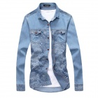 209-C809 Printed Classic Men's Fashionable Denim Shirt - Blue (L)