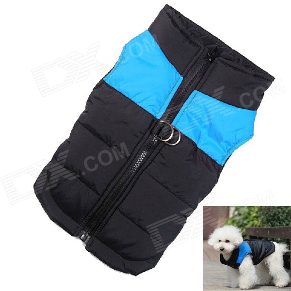Water-resistant Quilted Padded Warm Winter Coat Jacket for Pet Dog - Blue + Black (Size S) comfortable lint water resistant cloth fiberfill pet kennel house for cat dog blue
