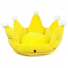 YDL-WA3004-M Fashionable Crown Style Nest Bed for Pet Cat / Dog - Yellow + White (Size M)