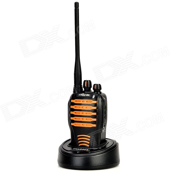 Chierda CD-528 Waterproof 16-Channel 400~470MHz Walkie Talkie - Black + Orange