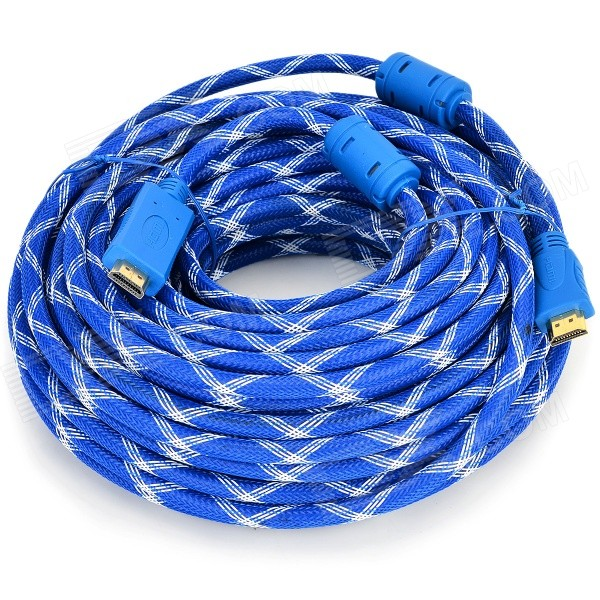 HDMI 1.4 Male to Male Woven Connection Cable - Blue + White (25m) the salmon who dared to leap higher