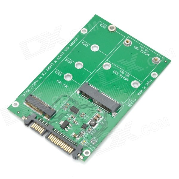 MSATA M.2(NGFF) 2-in-1 to SATA 3.0 Adapter Card - Green + Black ssd add on cards 2 5 enclosure adapter u 2 sff 8639 to m 2 pci e i f with cable ngff convert card