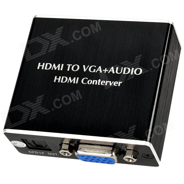 Aluminum Alloy HDMI to VGA + Audio + SPDIF Converter - Black + White digital ac3 optical to stereo surround analog hd 5 1 audio decoder 2 spdif ports hd audio rush for hd players dvd xbox360