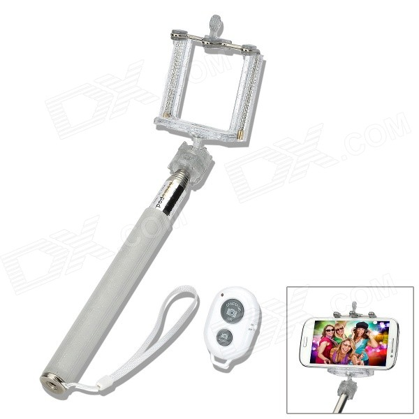 Universal Handheld Selfie Rod + Cell Phone Holder + Bluetooth Remote Shutter Set - White
