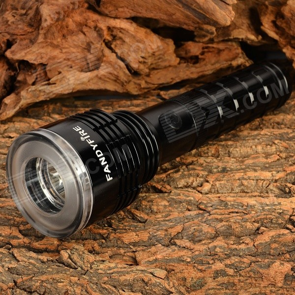 FANDYFIRE F-9 300lm 3-Mode Cool White / Blue / Red LED Flashlight w/ Compass - Black (1 x 18650)