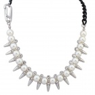 FenLu Women's Fashionable Punk Style Artificial Pearl Rivet Necklace - White + Black
