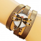 Dragonfly Motif de la femme strass incrusté PU bande Quartz Bracelet Montre analogique - Brown (1 x 377)