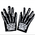 Halloween Horror Skeleton Ghost Patterned Cloth Gloves - Black + White (Pair)