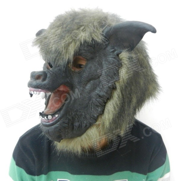 Latex Wolf Mask Toy for Halloween - Black a toy a dream latex mask toy tyrannosaurus rex triceratops mask cosplay carnival dinosaur mask halloween toys props model toys