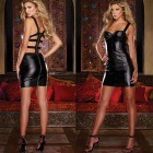 Women's Fashionable Sexy PU leather Strap Zippered Sleep Dress Jumpsuit Set - Black
