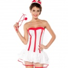 A102 Halloween Nurse Style Strapless Bubble Skirt Uniform - White + Red