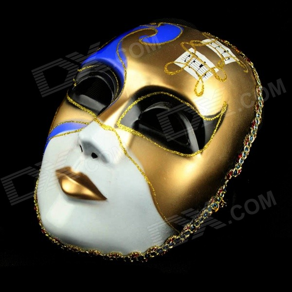 Men's Halloween Venetian Style Elegant Masquerade Mask - White + Deep Blue