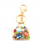 Stylish Exquisite Rhinestone-studded Basket-shaped Pendant Keychain - Gold + Blue