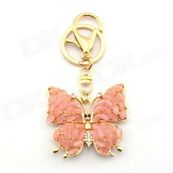 Stylish Exquisite Rhinestone-studded Butterfly-shaped Pendant Keychain - Gold + Deep Pink