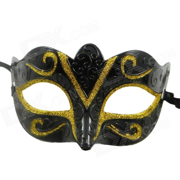 Water Ripple Gold Colored Drawing Pattern Masquerade Mask - Black + Gold