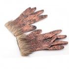 Halloween Costumes Party Supplies Male Gloves w/ Wolf Hair - Brown Red + Yellow