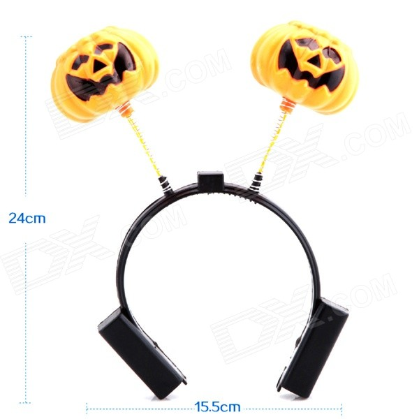 A1253 Pretty Nifty Luminous Double Pumpkin Patterned Halloween Head Band Headdress - Black