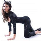 R3697 Halloween Cat Cosplay Sexy Long-sleeved Jumpsuit Tights - Black (XL)