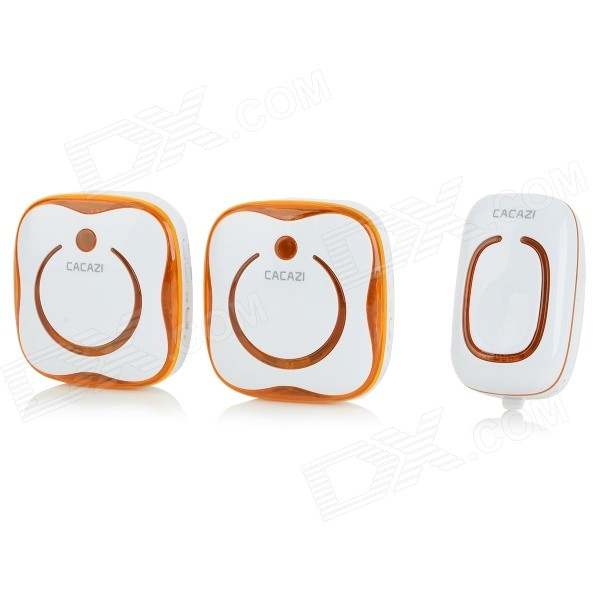 цена на CACAZI 9809-2 Water-resistant Wireless Digital Doorbells w/ R/C - Orange (AC 110~220V / US Plug)