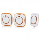 CACAZI 9809-2 Water-resistant Wireless Digital Doorbells w/ R/C - Orange (AC 110~220V / US Plug)