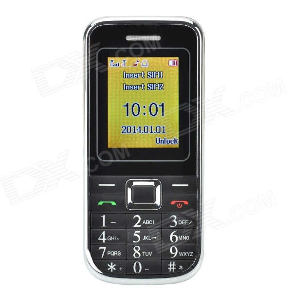 1.8 LCD Screen Dual-SIM Card Quad-band GSM Bar Phone w/ MP3 / FM - Black + Silver gs89 1 8 lcd screen quad band gsm bar phone w mp3 fm sos led light uv lamp black silver